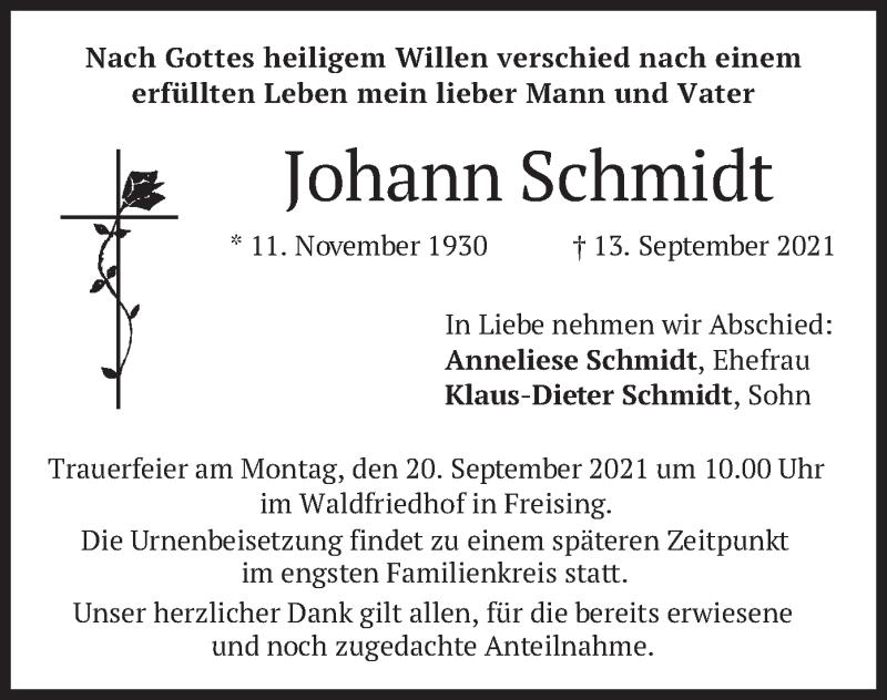 Traueranzeige für Johann Schmidt vom 16.09.2021 aus merkurtz
