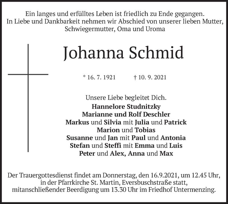 Traueranzeige für Johanna Schmid vom 14.09.2021 aus merkurtz