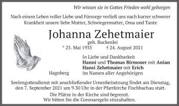Traueranzeige von Johanna Zehetmaier von merkurtz