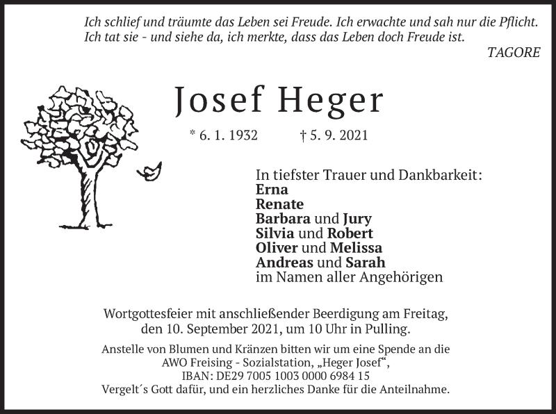 Traueranzeige für Josef Heger vom 08.09.2021 aus merkurtz