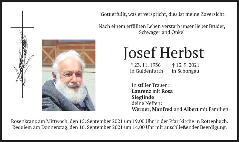 Traueranzeige für Josef Herbst vom 15.09.2021 aus merkurtz