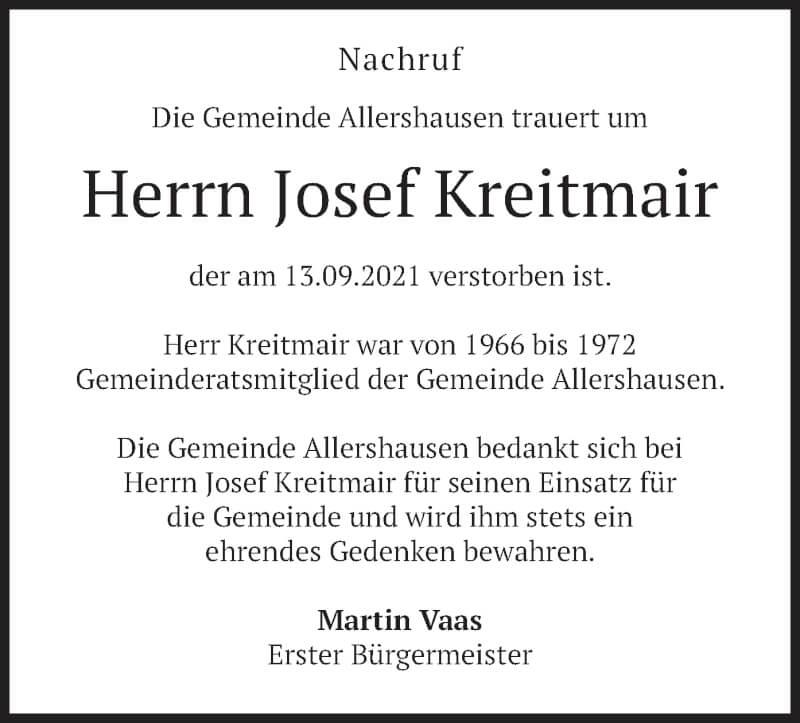 Traueranzeige für Josef Kreitmair vom 17.09.2021 aus merkurtz
