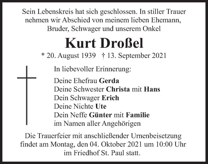 Traueranzeige für Kurt Droßel vom 25.09.2021 aus merkurtz