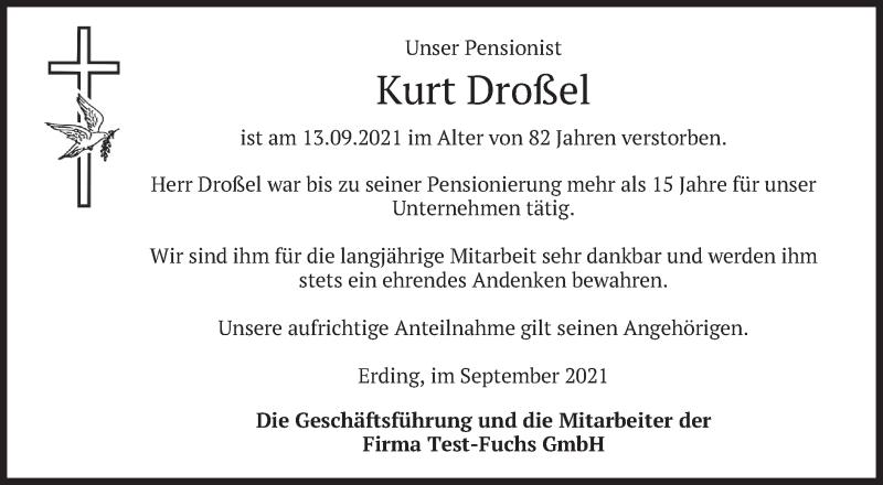 Traueranzeige für Kurt Droßel vom 29.09.2021 aus merkurtz