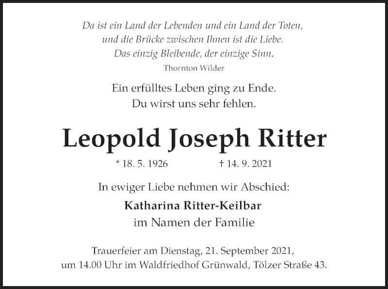 Traueranzeige für Leopold Joseph Ritter vom 18.09.2021 aus merkurtz