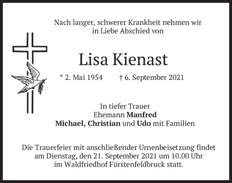 Traueranzeige für Lisa Kienast vom 14.09.2021 aus merkurtz