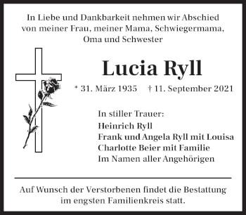 Traueranzeige von Lucia Ryll von Das Gelbe Blatt Penzberg