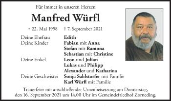 Traueranzeige von Manfred Würfl von merkurtz