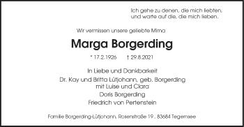 Traueranzeige von Marga Borgerding von merkurtz