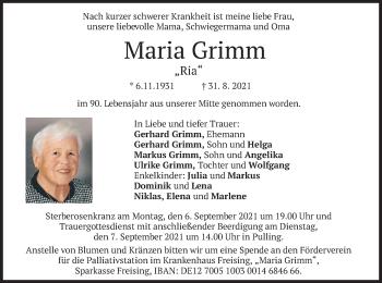 Traueranzeige von Maria Grimm von merkurtz
