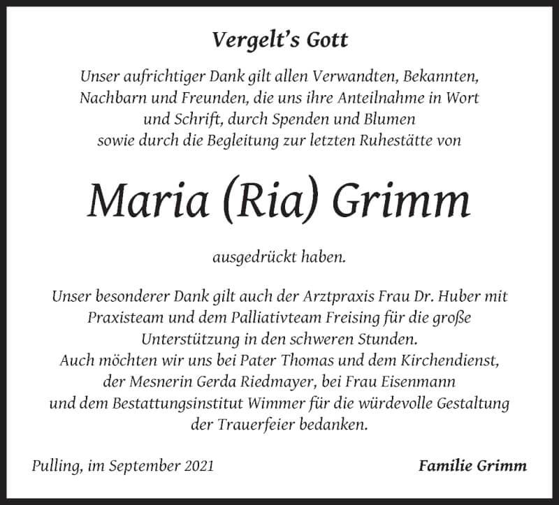 Traueranzeige für Maria Grimm vom 18.09.2021 aus merkurtz