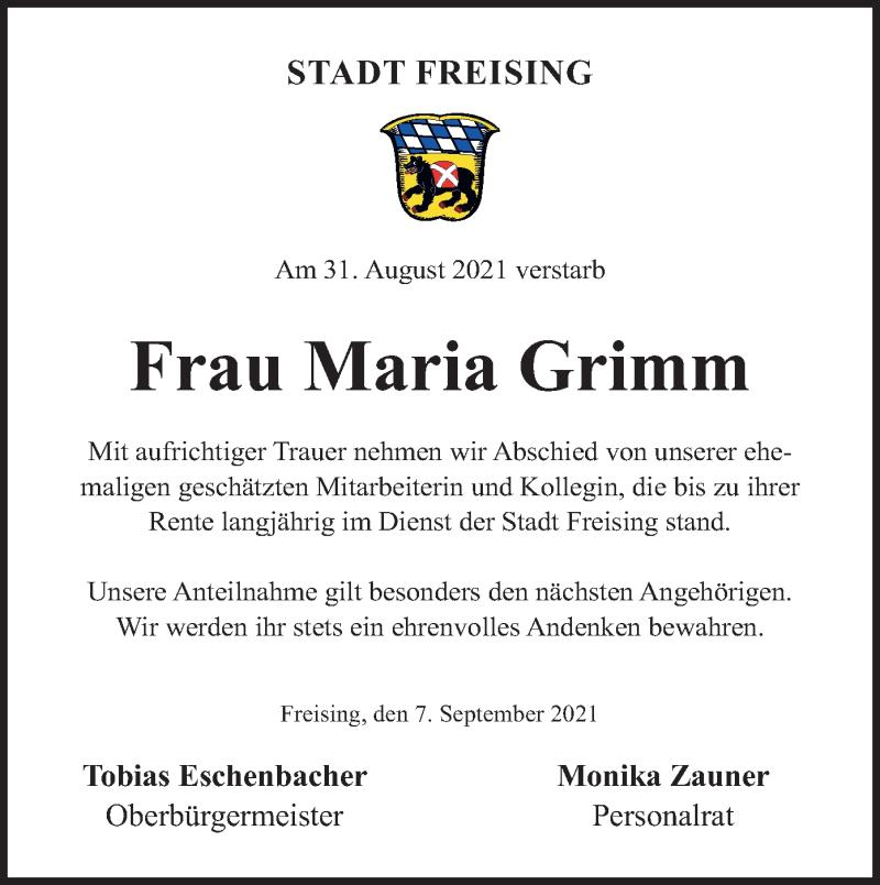 Traueranzeige für Maria Grimm vom 07.09.2021 aus merkurtz