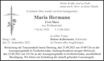 Traueranzeige von Maria Hermann von merkurtz