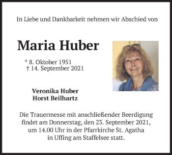 Traueranzeige von Maria Huber von merkurtz