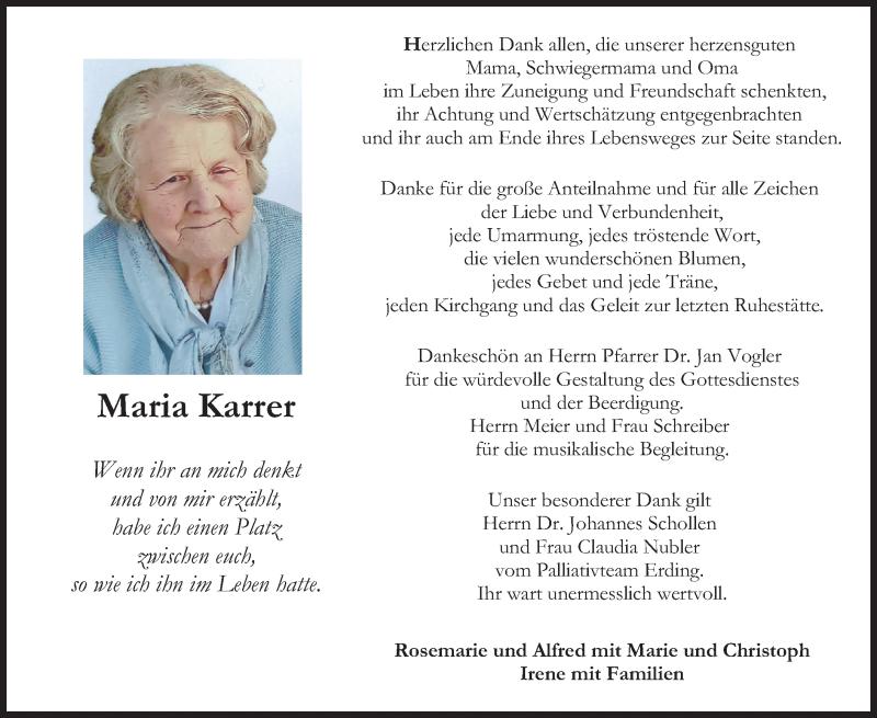 Traueranzeige für Maria Karrer vom 11.09.2021 aus merkurtz