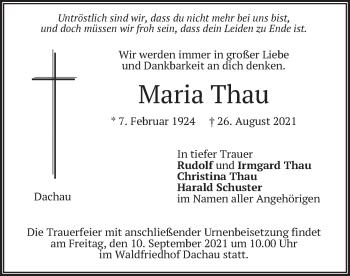 Traueranzeige von Maria Thau von merkurtz