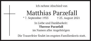 Traueranzeige von Matthias Parzefall von merkurtz