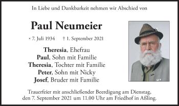Traueranzeige von Paul Neumeier von merkurtz