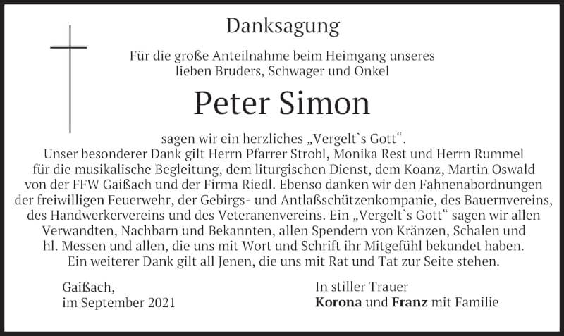 Traueranzeige für Peter Simon vom 18.09.2021 aus merkurtz