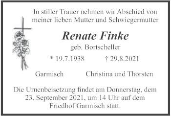 Traueranzeige von Renate Finke von merkurtz