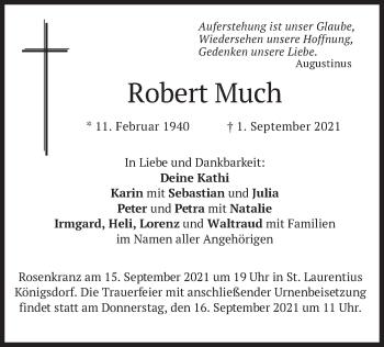 Traueranzeige von Robert Much von merkurtz