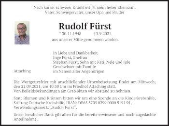 Traueranzeige von Rudolf Fürst von merkurtz