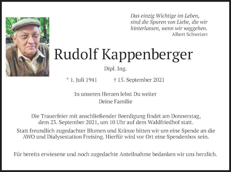 Traueranzeige für Rudolf Kappenberger vom 18.09.2021 aus merkurtz