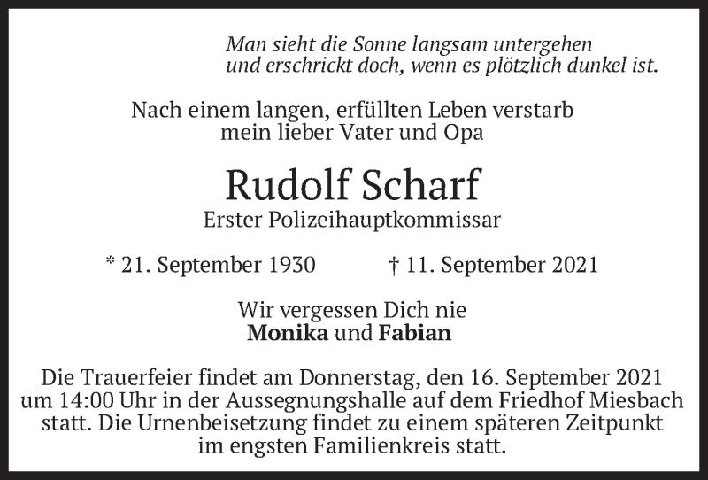 Traueranzeige für Rudolf Scharf vom 14.09.2021 aus merkurtz