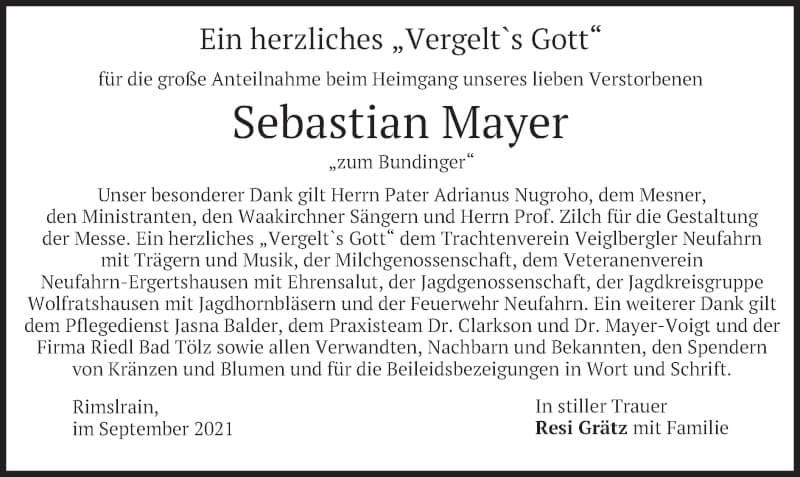 Traueranzeige für Sebastian Mayer vom 18.09.2021 aus merkurtz