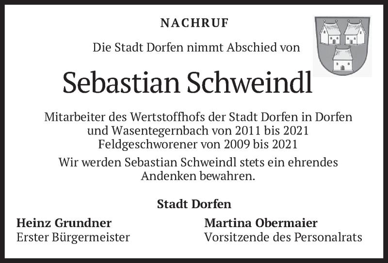 Traueranzeige für Sebastian Schweindl vom 16.09.2021 aus merkurtz