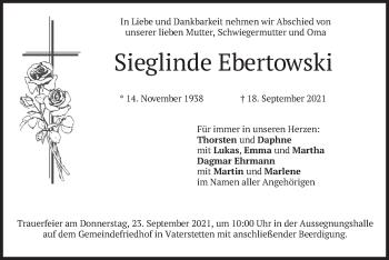 Traueranzeige von Sieglinde Ebertowski von merkurtz