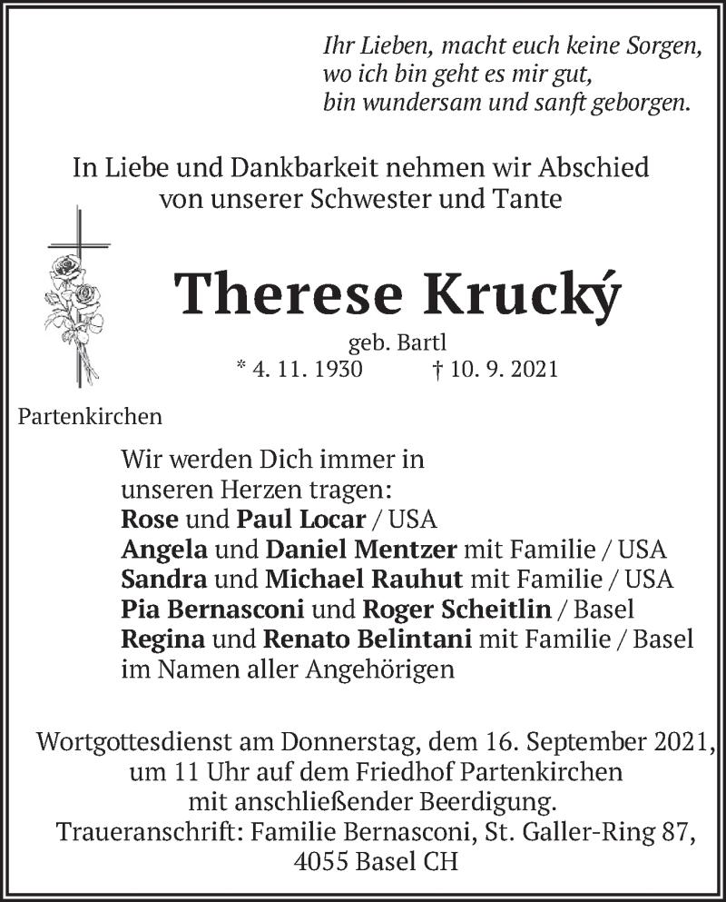 Traueranzeige für Therese Krucky vom 14.09.2021 aus merkurtz