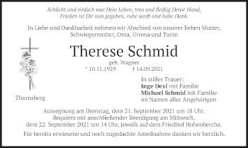 Traueranzeige von Therese Schmid von merkurtz