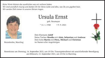 Traueranzeige von Ursula Ernst von merkurtz