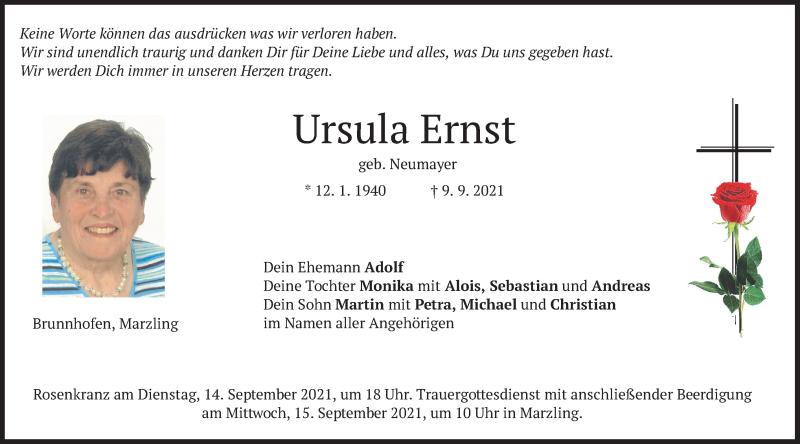 Traueranzeige für Ursula Ernst vom 11.09.2021 aus merkurtz