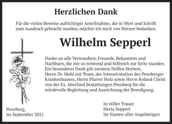 Traueranzeige von Wilhelm Sepperl von Das Gelbe Blatt Penzberg