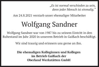 Traueranzeige von Wolfgang Sandner von merkurtz