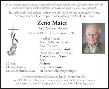 Traueranzeige von Zeno Maier von merkurtz